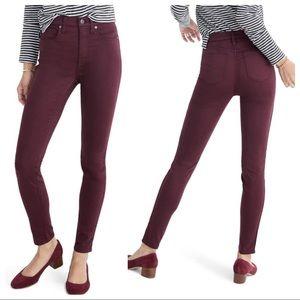 Madewell 10-inch High Waist Dark Plum Skinny Jeans